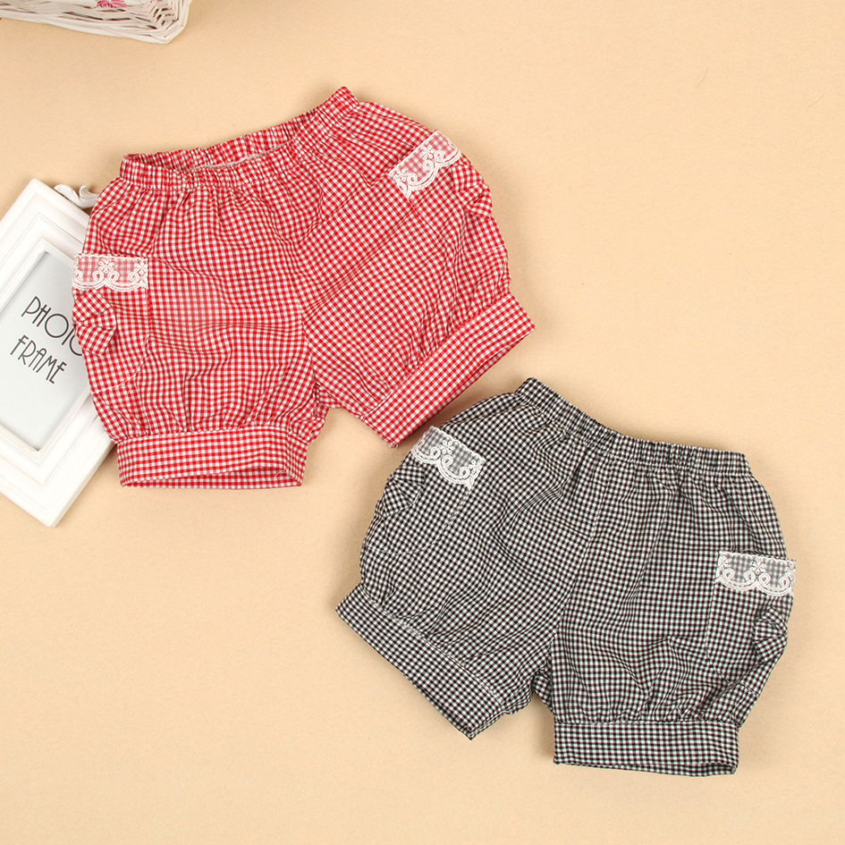 Fashion girls shorts children summer pants with lace decoration kids cotton plaid bloomers baby summer cool bow pocket shorts