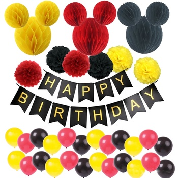 Red Yellow And Black Honeycomb Balls Kids Happy Birthday Decoration Set  Mickey Mouse Theme Baby Party Supplies , Buy Happy Birthday Decoration