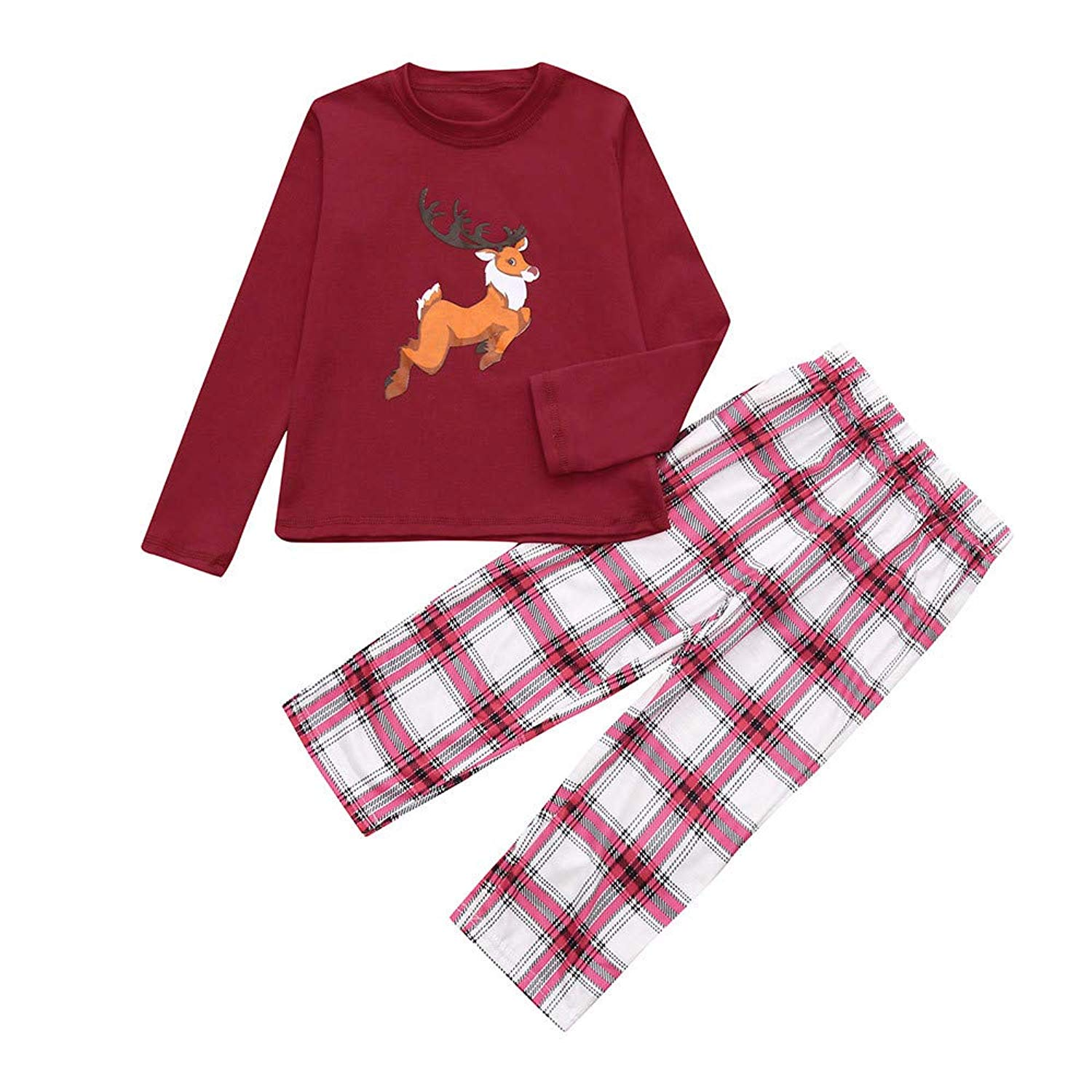 cd4579f9d3 Get Quotations · Jchen(TM) Dad Mom Me Christmas Santa Deer Print Tops Plaid  Pants Family Pajamas
