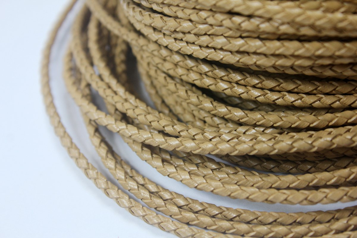 5 Yards 3mm Genuine Tan Leather Bolo Cord, Woven Braided Leather Strap for Bracelet Necklace Cord (tan)