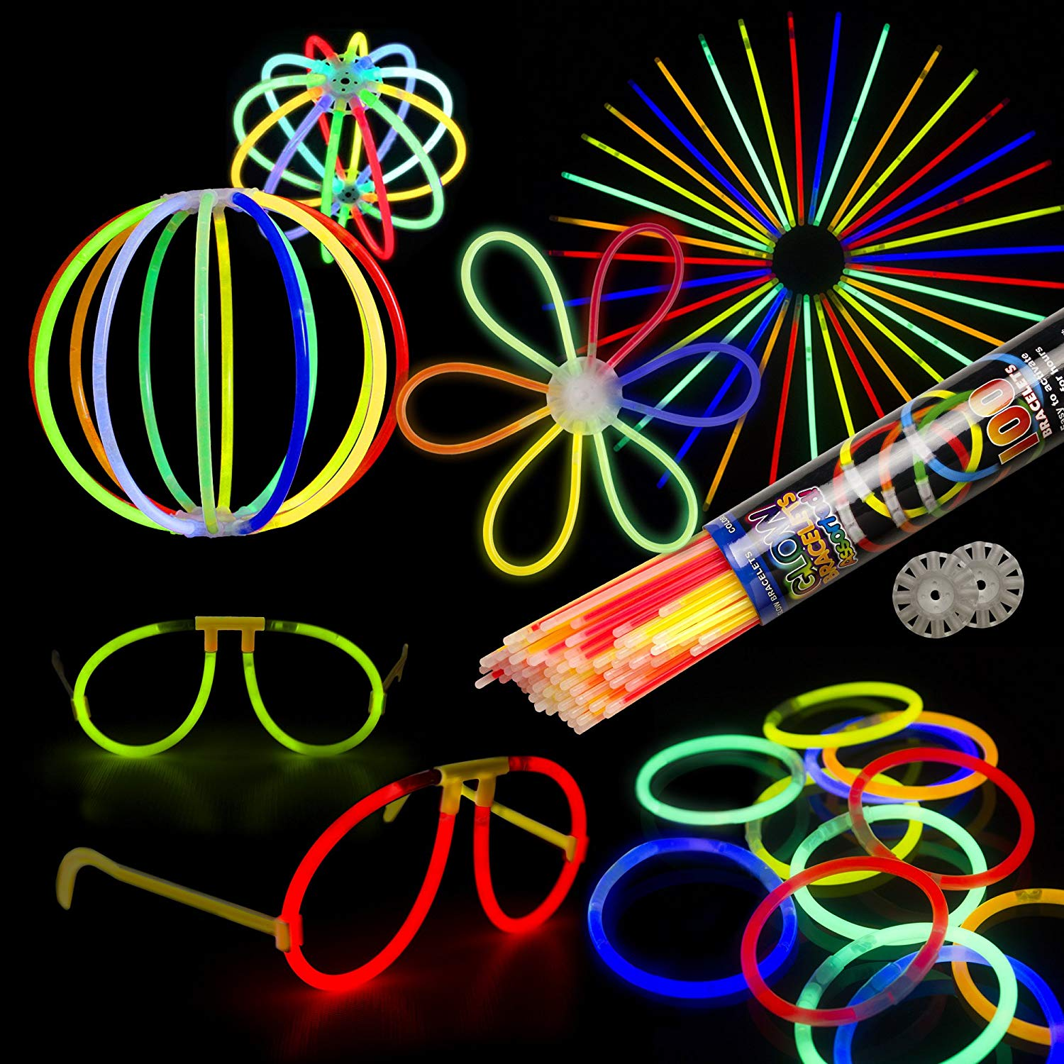 Fun Central BC679 Glow Sticks Large Party Pack for 20 People - Includes: 200 Pcs Assorted Color 8 inch Premium Glow Sticks with Connectors, Glow in The Dark Sticks, Glow Sticks Bulk - Assorted