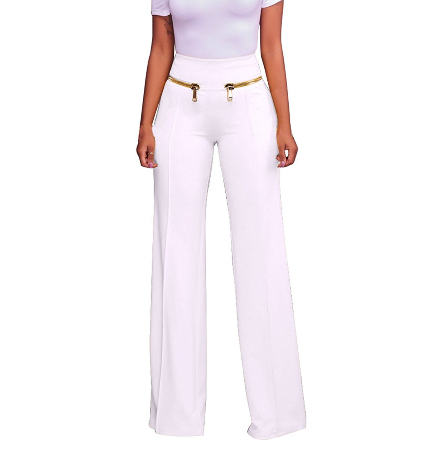 2b84bd4fa58966 Get Quotations · GUOLEZEEV Womens High Waisted Wide Leg Long Flare Palazzo  Pants With Zipper Embellish