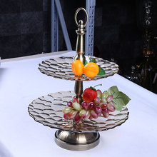 wedding and hotel decorative funky 2 tiers galss fruit plate for party