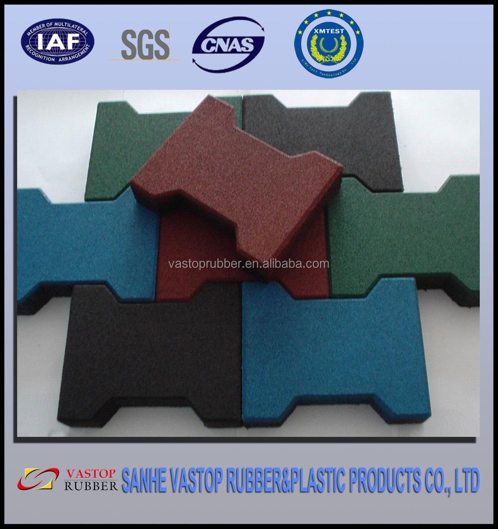 Dog Bone Rubber Patio Paver Tile/Ourdoor Rubber Driveway Mats/Pavers