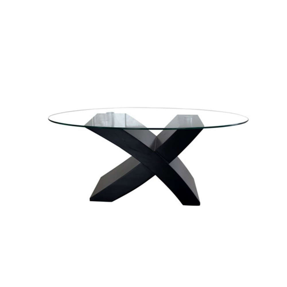 Modern X Base 8 Seater Dining Table Tempered Glass Dining Table Wooden Dining Table With Glass Top