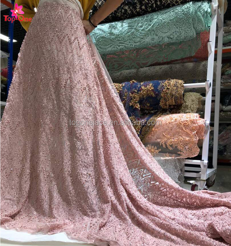 Wholesale latest fashion design pearls sequin beaded lace fabric embroidery bridal