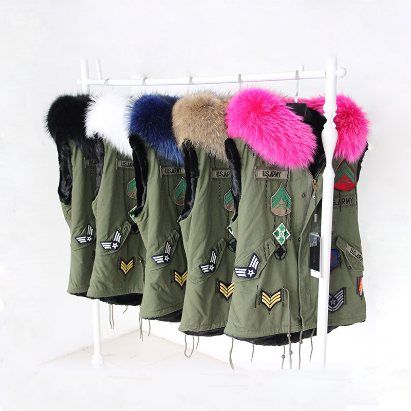 2015-New-Winter-Fur-Vest-Hooded-British-Style-Army-Green ...