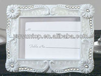 Daisies pearlized white place card photo frame bridal shower favor