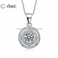 Custom 925 sterling silver round big moving cz dancing stone jewelry wholesale