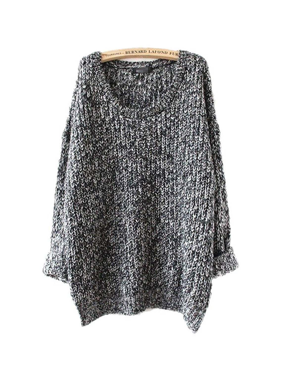 ARJOSA Women's Fashion Oversized Knitted Crewneck Casual Pullovers Sweater