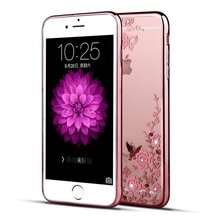 for iphone 7 Case,Secret Garden Butterfly Floral Flower Bling Soft TPU Silicone Gel Bumper Case for Apple iphone 7 4.7''