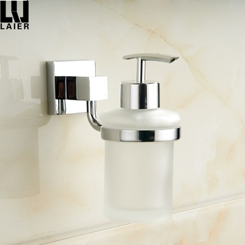 Wall Mounted Shower Soap Dispenser Pump Frosted Glass Bottle Lotion ...