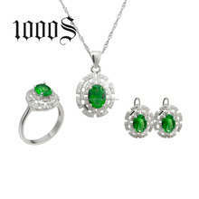 925 Sterling Silver colorful cubic Zirconia jewelry set jewelry set for girl's Christmas Gift