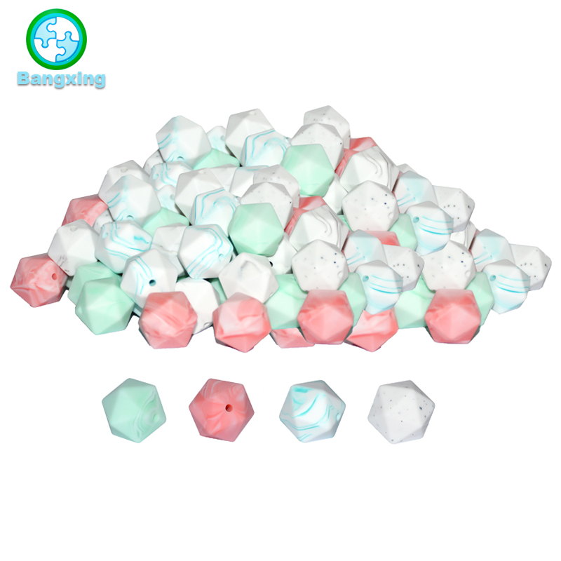 50pcs Bpa Free Food Grade Silicone Loose Icosahedron Beads You Choose Jewelry Bulk Loose 14 Mm Geometric Hexagon Wholesale