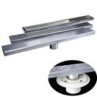Stainless Steel 304 Linear Shower Drain With 50mm Floor Drain Pipe Fit Different Type Drain Grate