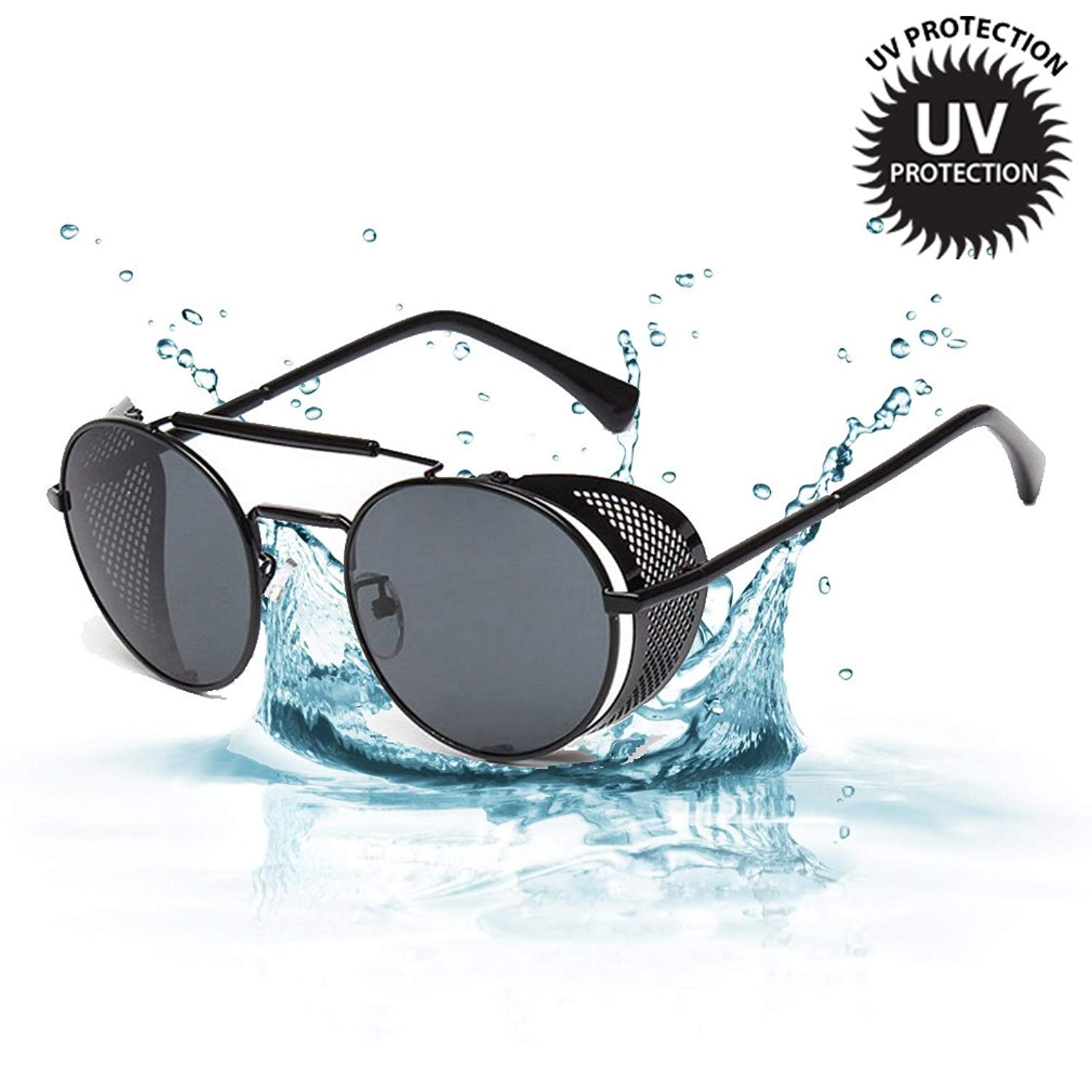 d7a2199ad6f Get Quotations · Sunglasses Side Shield Steampunk Vintage Cool UV  Protection Round Glasses For Women Men