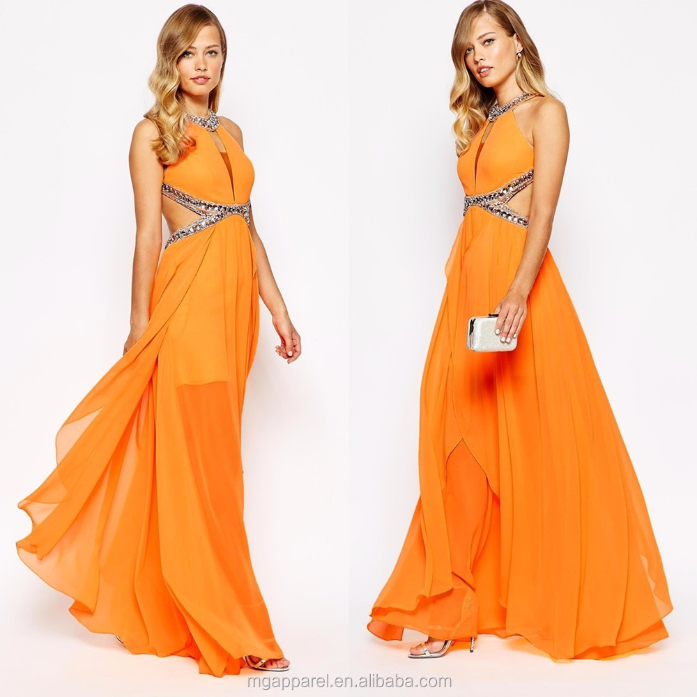 OEM Wholesale Latest Dress Designs 100% Polyester Embellished Cross Strap Back Long Chiffon Evening Dress For Seniors
