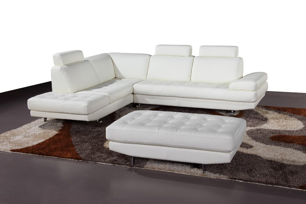 Modern white steel sofa furniture with Ottoman L shaped sofa set 2015