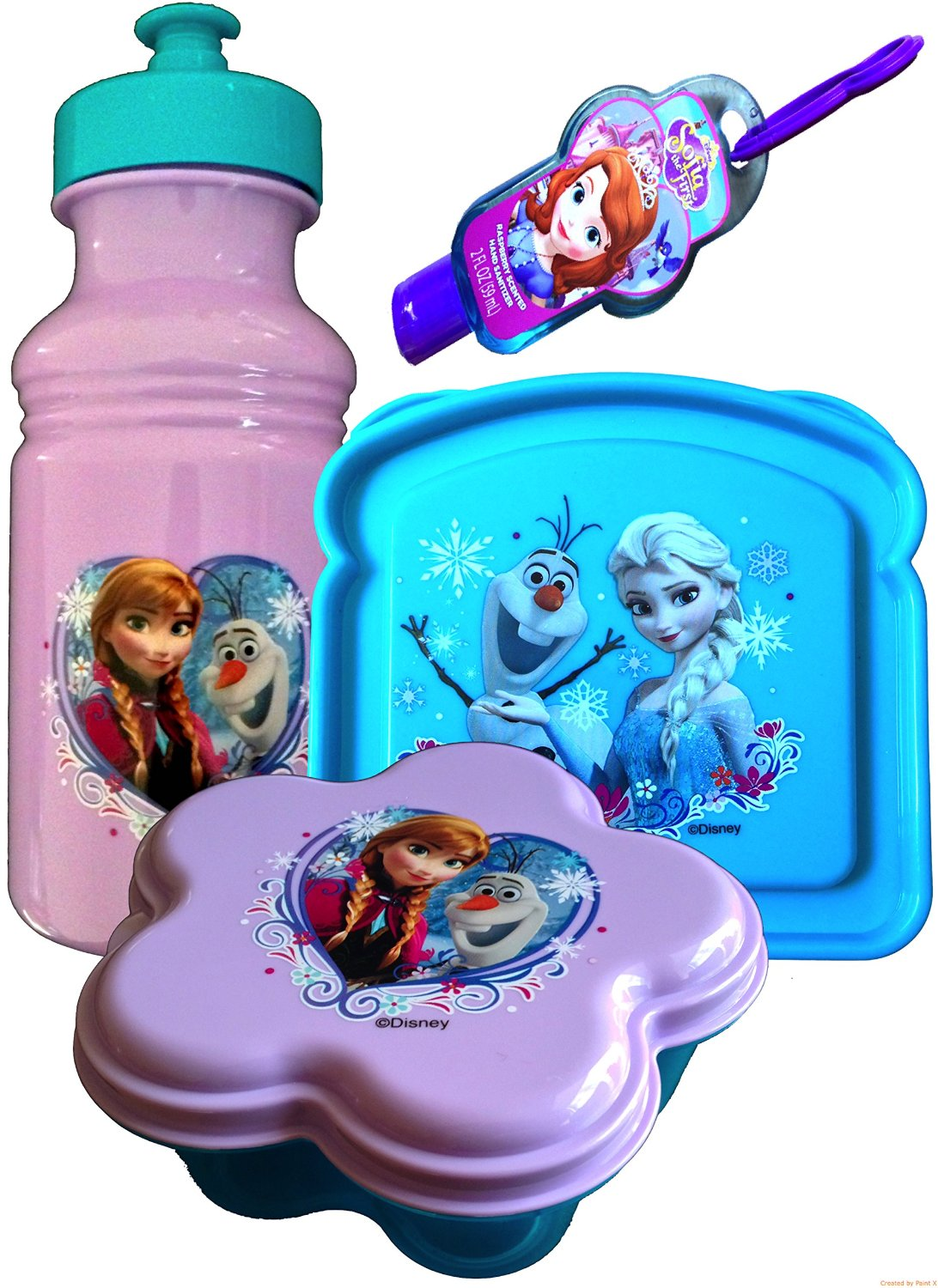 Disney Frozen Lunch Set with Standing Lunch Box with Handle Includes 3 Piece Lunch Set , Pull-top Water Bottle, Snack Container , Sandwich Container and Bonus Sofia the First Hand Sanitizer (3 Piece Lunch SET Only)