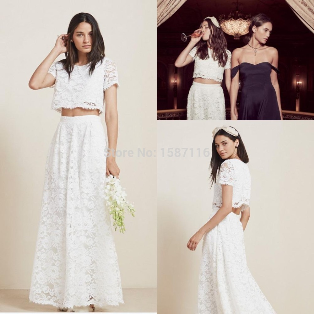 Vintage Wedding Dress 2 Piece: Sexy Vintage 2016 Two Piece Lace Wedding Dresses Beach
