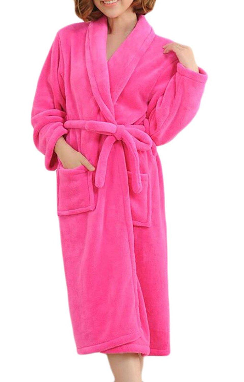 Get Quotations · JXG-Women Solid Color Fleece Robe Long Plush Bathrobe Rose  Red US XL d6e899e09
