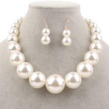 1950S-70S Party Jewelry Gift Set Imitation Pearl Necklace & Earring Set