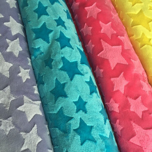 Hot Selling Super Soft Minky Material Star Brushed Velboa Fabric