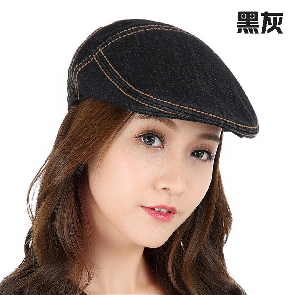 Cowboy Girl lady duck tongue hat autumn and winter leisure all-match hats caps,M (56-58cm) Regulation of sweat band,Black ash