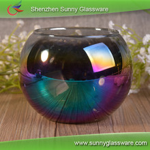 Hand blown iridescent glass candle ball decoration