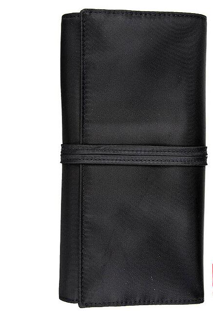 Black Leather Cosmetic Makeup Brushes Roll Bag Pouch, Folding Makeup Brush Bag Case
