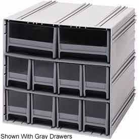 Quantum QIC-4163IV Interlocking Gray Storage Cabinet with 10 Ivory Drawers, 11.38-Inch by 11-3/4-Inch by 11-Inch