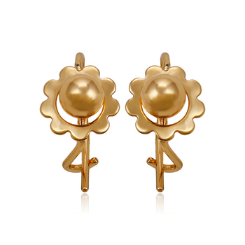 91566 Xuping new design 18k gold color jewelry flower shape baby earrings