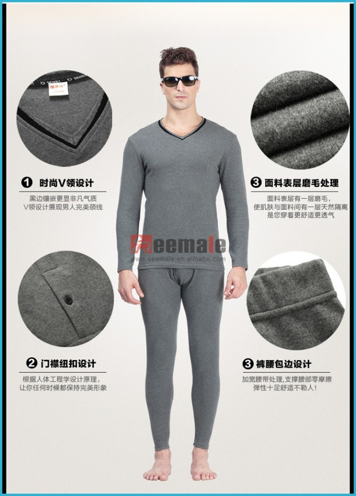 d46cb89a26de Combed Cotton Lycra Heated Thermal Underwear Men Thick Long Sleeve Long  John V-neck Thermal Clothing Set Simple Design - Buy Men Thermal Underwear,Heated  ...