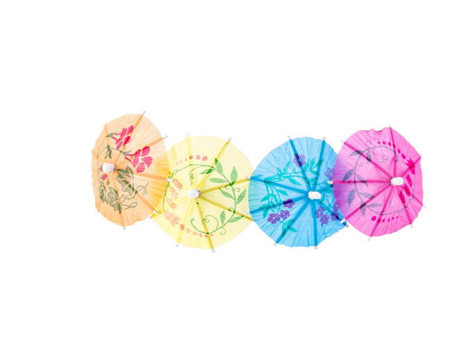 Disposable Cocktail Fruit Decorative Colorful Mini Paper Umbrella Toothpick