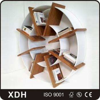 Populaire en bois flottant biblioth que ronde livre Etagere murale ronde