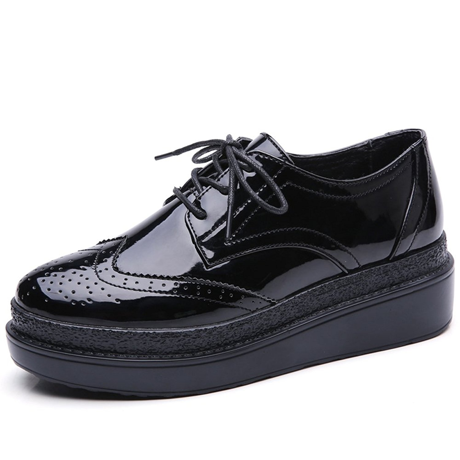 02806a838c Get Quotations · HKR Women Patent PU Leather Wingtip Oxfords Lace up  Platform Wedge Brogues Sneakers Shoes