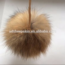 Long Hair Nature 100% Genuine Racoon Dog Fur Pom Poms Balls Mink Fur Ball
