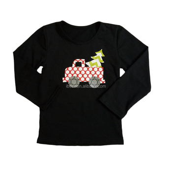 christmas tree pickup truck kids shirt christmas black long sleeve cute shirts boys football boutique t