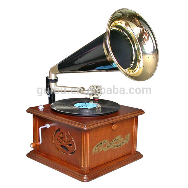 Classic Turntable Wooden Brown Phonograph Player For Home