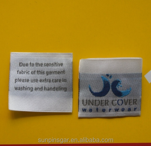 Free sample wholesale jeans woven label custom satin silk woven label for clothing