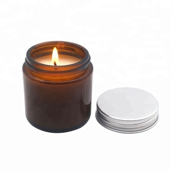 100ml amber glass scented candle jar with Aluminum lid