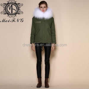 wholesale OEM service type and style coat down jacket with fur raccoon fur collar winter parka