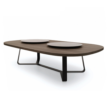 Joyues YT 050 Modern Wood Round Dining Table With Lazy Susan Rotating Centre