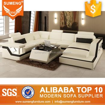 2017 China Latest Designs Office Furniture U Shape Leather Sofa Set ...