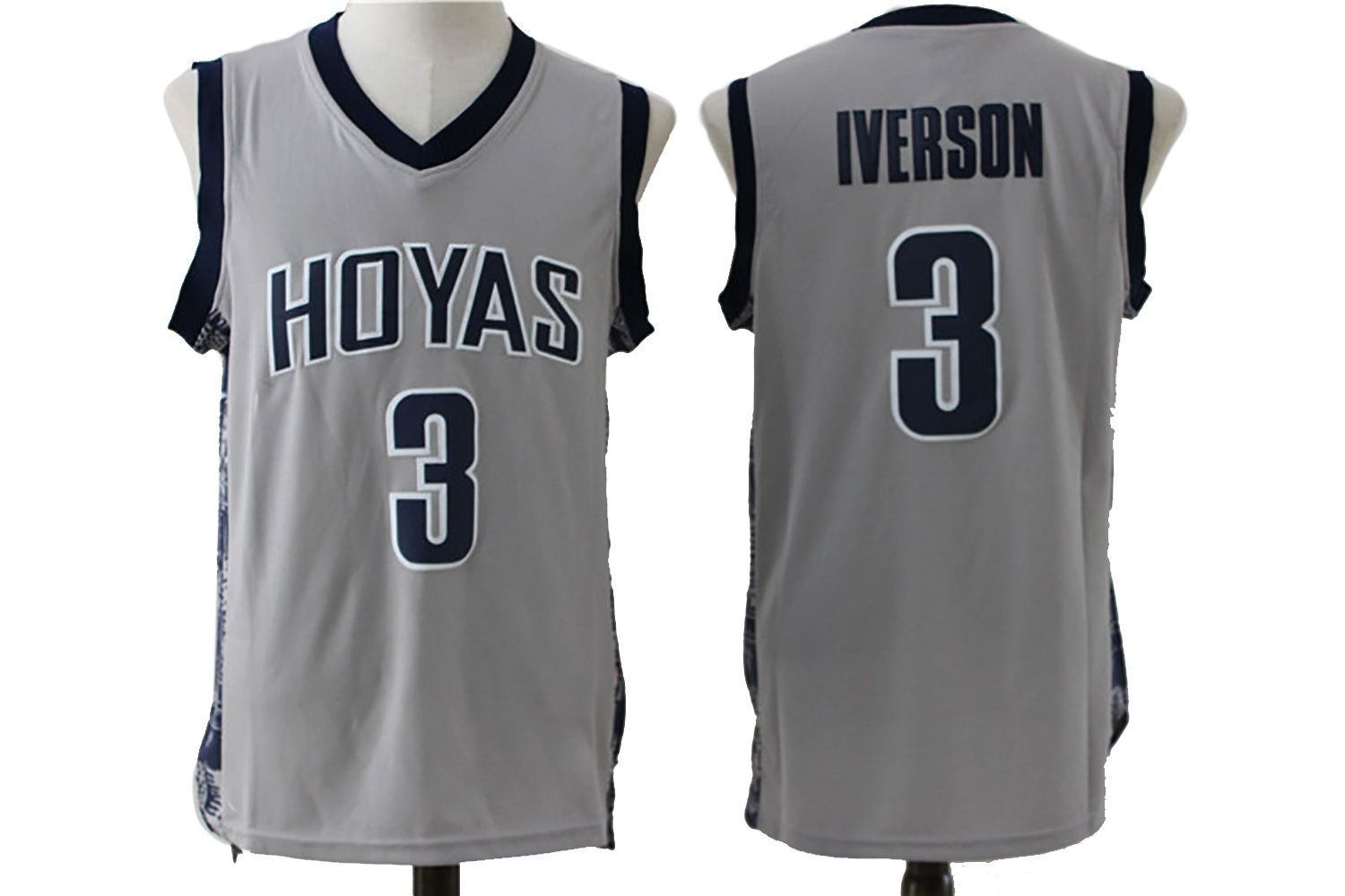45b1b72c66d ... jersey gray blue suture; get quotations · mens allen iverson 3  georgetown hoyas college throwback embroidery basketball jers