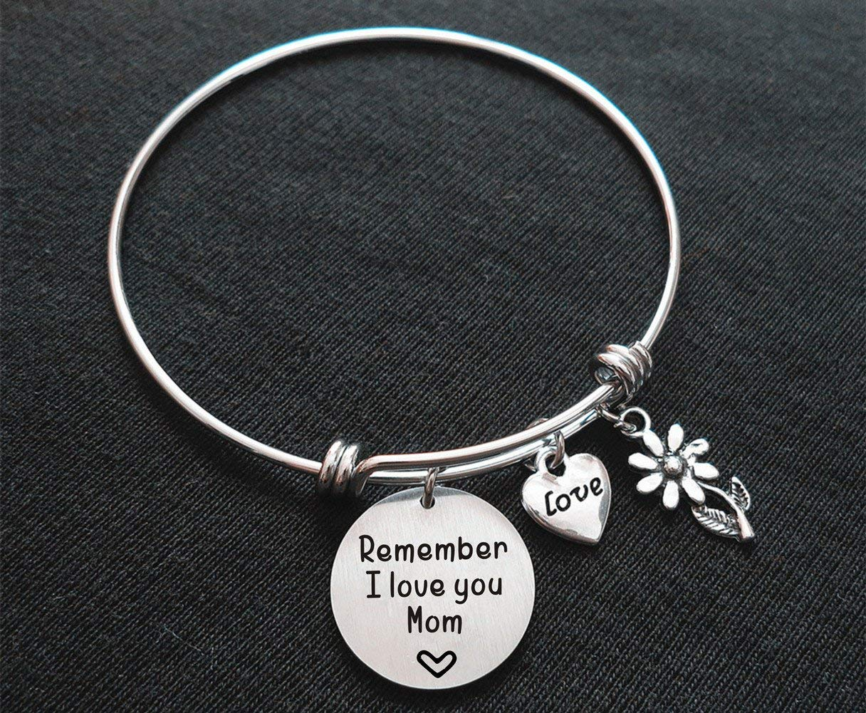 Mother's Day Gift Remember I Love You Mom Mother Bangle Bracelet with Flower Charm Christmas Day Gift for Mom