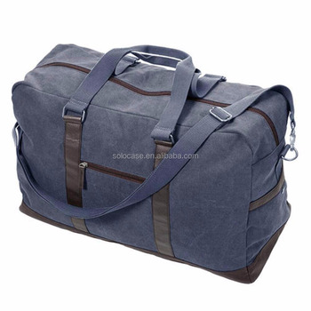 10a92266e2 Canvas Duffle Bag Oversized Genuine Leather Trim Weekend Bags for Men and  Women