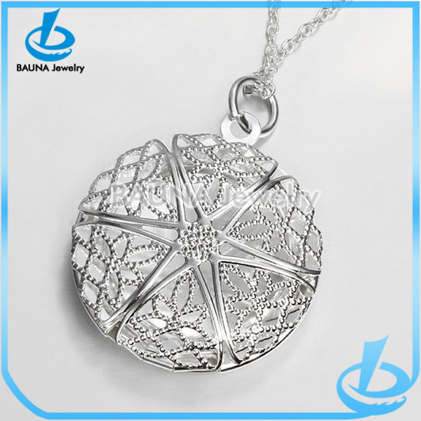 New arrival circle 925 silver locket pendant