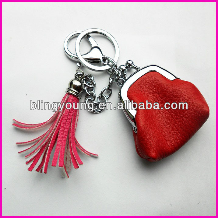 2016 OEM leather tassel keychain BY-0042