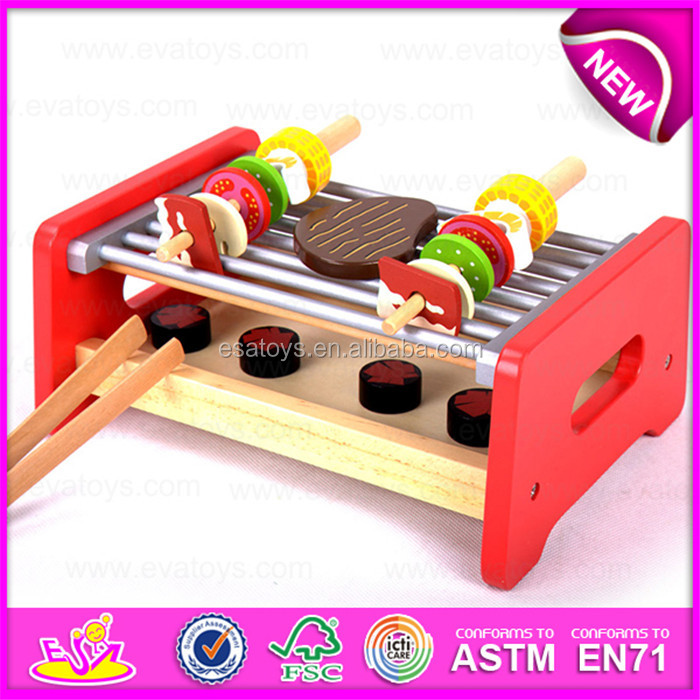 wooden pretend play barbecue food toy set for kidswooden bbq grill toys for children